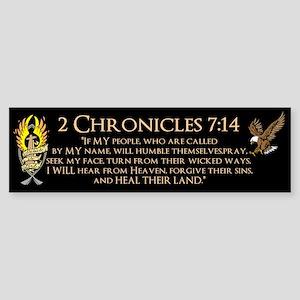 2 Chr 7:14 Gold Cross - Sticker (Bumper)