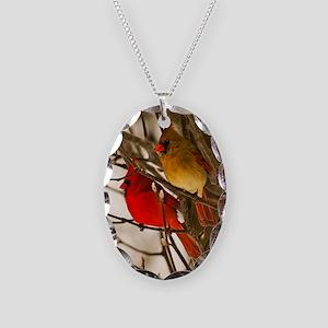 Cardinal Pair Necklace Oval Charm
