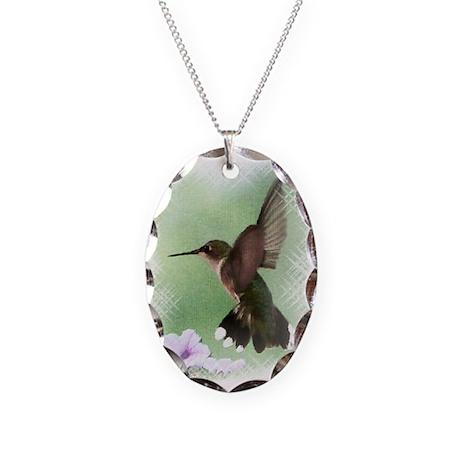 Hummingbird Necklace Oval Charm