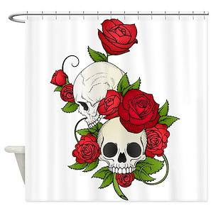 Skull Roses Shower Curtains