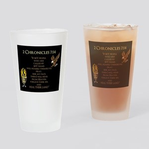 2 Chr 7:14 Gold Cross - Drinking Glass