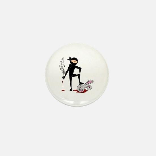 Plot Ninja kills Plot Bunny Mini Button