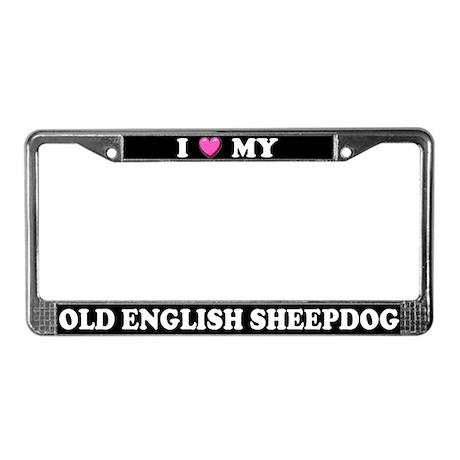 I Heart Old English Sheepdog License Plate Frame