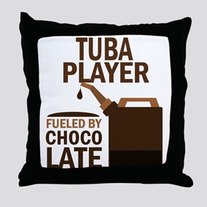 Tuba Player Powered By Donuts Throw Pillow