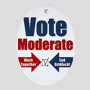 Vote Moderate Ornament (Oval)