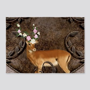 Wonderful antelope with flowers 5'x7'Area Rug