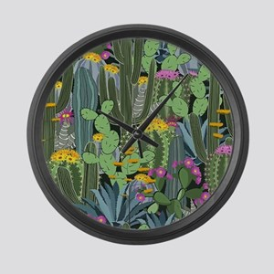 Simple Graphic Cactus Garden Large Wall Clock