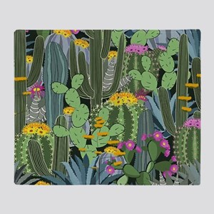 Simple Graphic Cactus Garden Throw Blanket