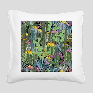 Simple Graphic Cactus Garden Square Canvas Pillow