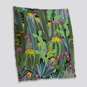Simple Graphic Cactus Garden Burlap Throw Pillow