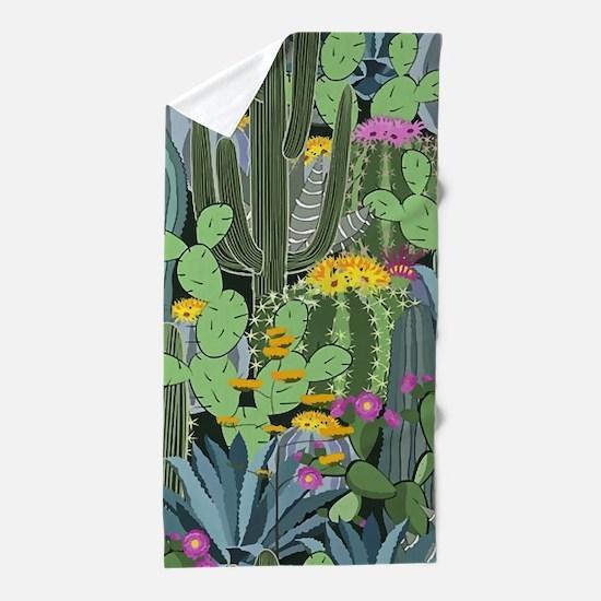 Simple Graphic Cactus Garden Beach Towel