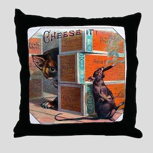 Cheese It Rat Cigar Label Throw Pillow