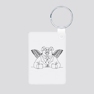 Flying Pig in a Suit Aluminum Photo Keychain