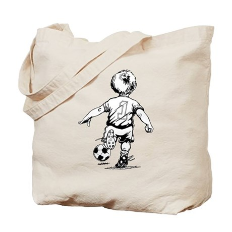 Child Playing Soccer Tote Bag