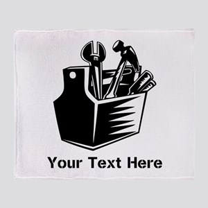 Tools with Text in Black. Throw Blanket
