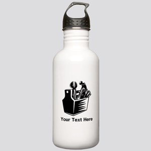 Tools with Text in Black. Stainless Water Bottle 1