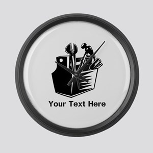 Tools with Text in Black. Large Wall Clock