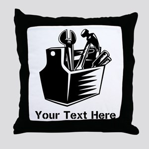 Tools with Text in Black. Throw Pillow