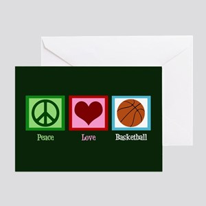 Peace Love Basketball Greeting Card