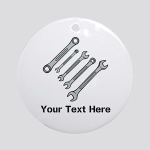 Wrenches. Black Text. Ornament (Round)