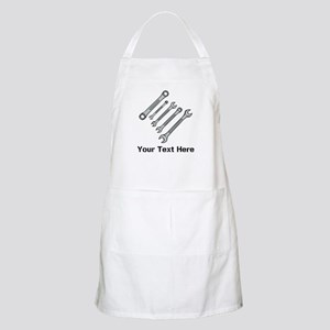 Wrenches. Black Text. Apron