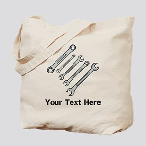 Wrenches. Black Text. Tote Bag