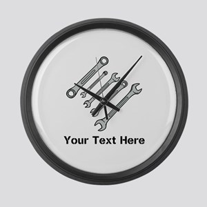 Wrenches. Black Text. Large Wall Clock