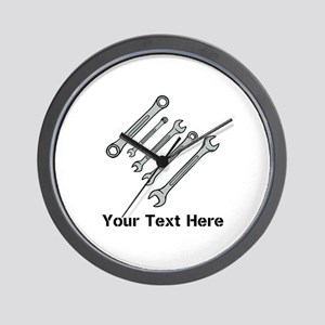 Wrenches. Black Text. Wall Clock