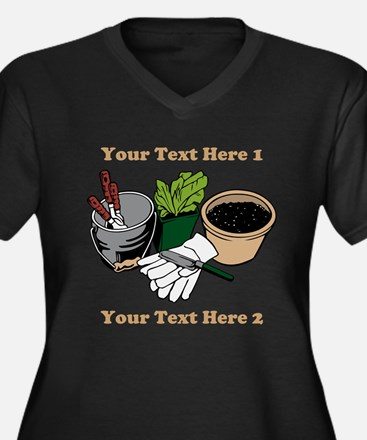 Gardening. Custom Text Women's Plus Size V-Neck Da