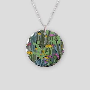 Simple Graphic Cactus Garden Necklace Circle Charm