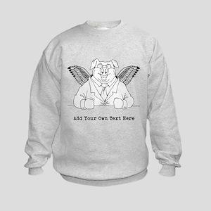 Flying Pig in Suit. Custom Text Kids Sweatshirt