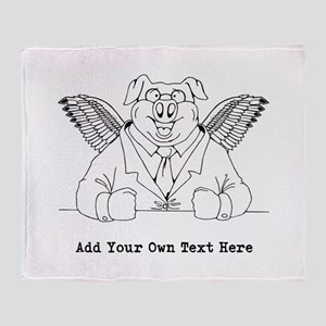 Flying Pig in Suit. Custom Text Throw Blanket