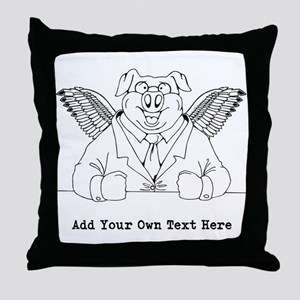 Flying Pig in Suit. Custom Text Throw Pillow