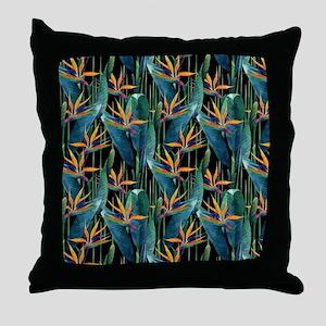Watercolor Painting Tropical Bird of Throw Pillow