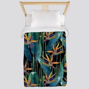 Watercolor Painting Tropical Bird Twin Duvet Cover