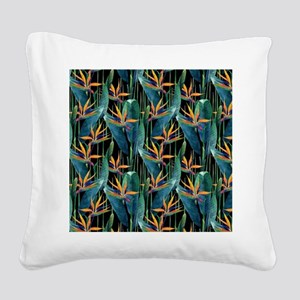 Watercolor Painting Tropical Square Canvas Pillow