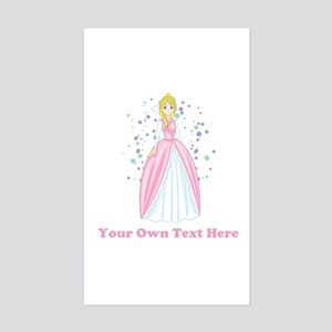 Princess. Custom Text. Sticker (Rectangle)