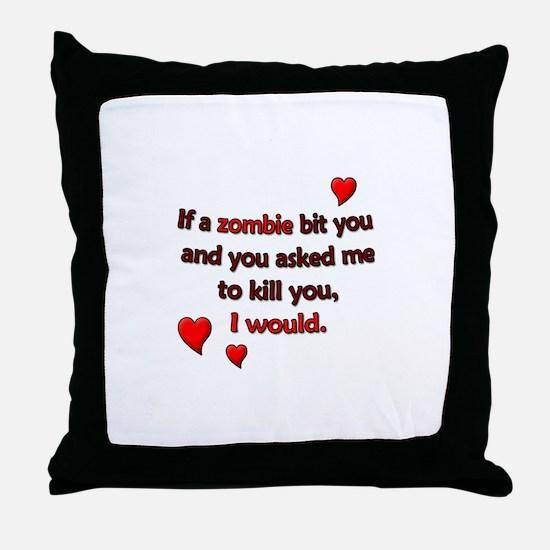Zombie Bite Love Throw Pillow