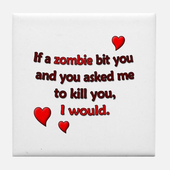 Zombie Bite Love Tile Coaster
