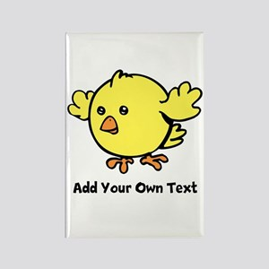 Cute Chick. Black Text Rectangle Magnet