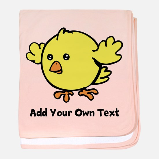 Cute Chick. Black Text baby blanket