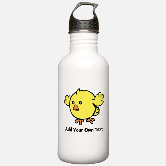 Cute Chick. Black Text Sports Water Bottle