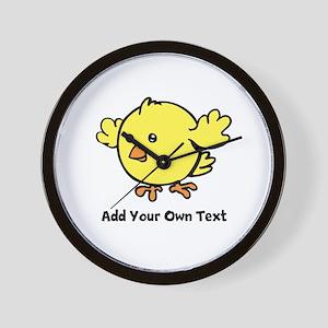 Cute Chick. Black Text Wall Clock