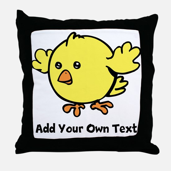 Cute Chick. Black Text Throw Pillow