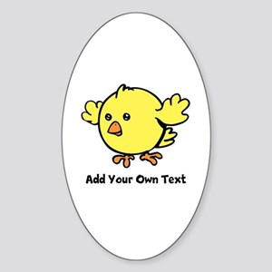 Cute Chick. Black Text Sticker (Oval)