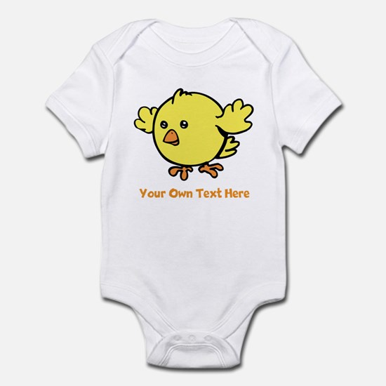 Cute Bird. Orange Text Infant Bodysuit