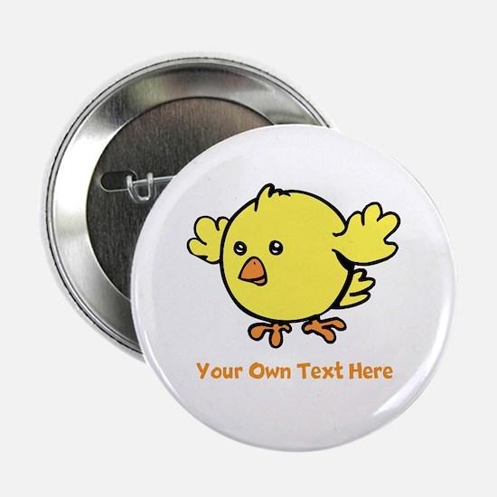 """Cute Bird. Orange Text 2.25"""" Button"""