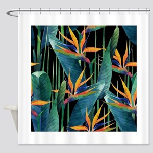 Watercolor Painting Tropical Bird o Shower Curtain