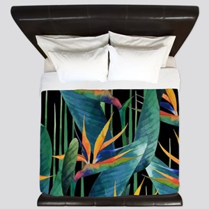 Watercolor Painting Tropical Bird of Pa King Duvet