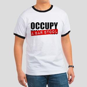 Occupy A Bar Stool Ringer T-Shirt